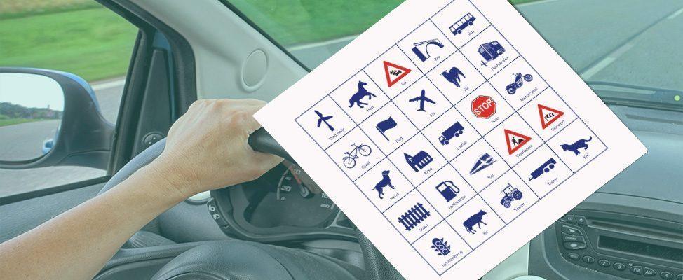 2 Bil Bingo plader til køreturen