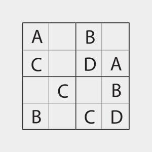 Sudoku for børn med bogstaver