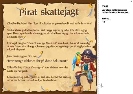 Den første opgave i piratskattejagten