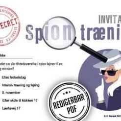 Spion fødlselsdags invitation