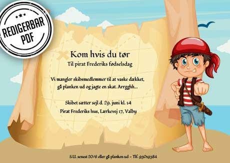 Pirat invitation - dreng