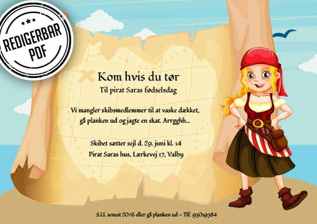 Pirat invitation - pige