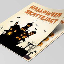 Halloween skattejagt med poster for 6-9 årige børn