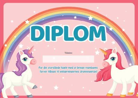 Diplom- Enhjørning skattejagt 4-5 år