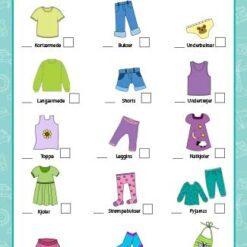 Pakkeliste med visuelt skema til børn