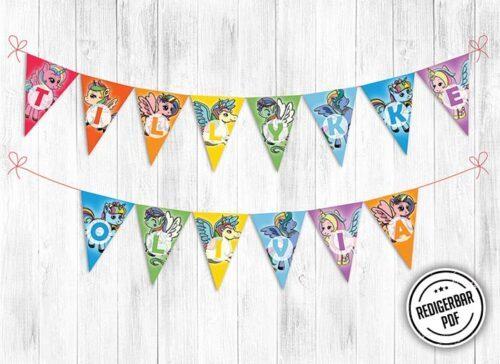 Enhjørning flagbanner til fødselsdag